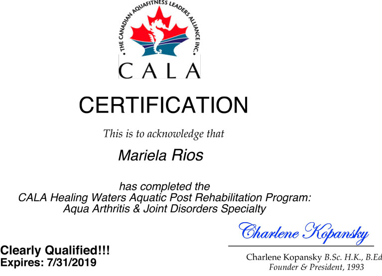 CALA Certificate: Aqua Arthritis and Joint Disorders Specialty